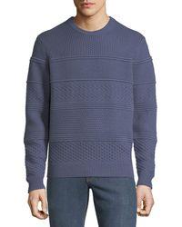 Neiman Marcus - Men's Crewneck Textured Paneled Pullover Cashmere Sweater - Lyst