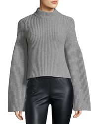 Autumn Cashmere - Mock-neck Trumpet-sleeve Sweater - Lyst