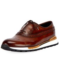 Berluti - Men's Fast Track Leather Brogue Sneakers - Lyst
