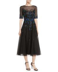 e8c29d1b351e Teri Jon - 3 4-sleeve Florals Beaded Tulle Cocktail Dress - Lyst
