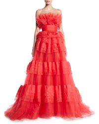 Monique Lhuillier - Strapless Embellished Tiered Tulle And Habotai Gown - Lyst