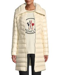 04f371b74 Lyst - Moncler Aubritch Lightweight Quilted Long Puffer Coat in Blue