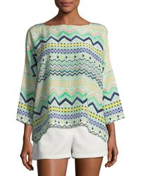 M Missoni - Geometric Silk Blouse - Lyst