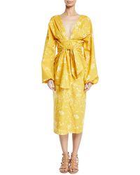 Johanna Ortiz - San Bernardo Del Viento Floral-print Deep-v Wrap Dress - Lyst