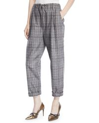 Brunello Cucinelli - Plaid Wool Cropped Pants - Lyst