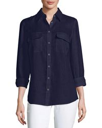 Go> By Go Silk | Long-sleeve Button-front Linen Top | Lyst