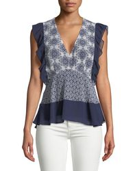 Ella Moss - V-neck Fitted Ruffle Top - Lyst