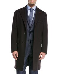 Isaia - Solid Wool Top Coat - Lyst