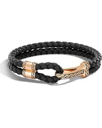 John Hardy - Men's Classic Chain Braided Leather Hook Station Bracelet - Lyst