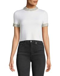 Alice + Olivia - Ciara Mock-neck Short-sleeve Fitted Cropped Sweater - Lyst