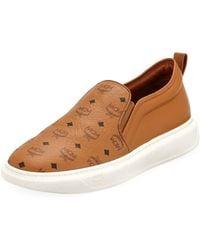 MCM - Men's Visetos Canvas/leather Slip-on Sneakers - Lyst