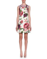 Dolce & Gabbana - Sleeveless Rose Peony Jacquard & Brocade Shift Day Dress - Lyst