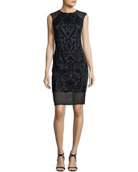 Aidan By Aidan Mattox | Sleeveless Flocked Velvet Cocktail Sheath Dress | Lyst
