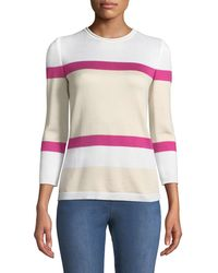 St. John - Stripe Float Jacquard Knit 3/4-sleeve Sweater - Lyst