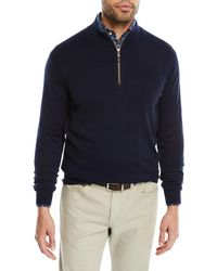 Peter Millar - Men's Crown Soft Leather-trim Quarter-zip Sweater - Lyst