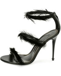 Tom Ford - Strappy Sandal With Feather Trim - Lyst