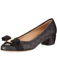 Ferragamo - Vara Quilted Stud Bow Low-heel Pumps - Lyst