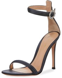 Gianvito Rossi - Pleated Satin Embellished 105mm Sandal - Lyst