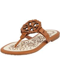 f1cf9d75cbc0 Tory Burch Leticia Logo Thong Sandal Tan in Brown - Lyst