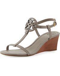 Tory Burch - Miller Medallion Wedge Sandals - Lyst