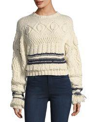 Derek Lam - Fringed Cable-knit Crewneck Sweater - Lyst