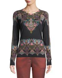 Etro - Chain-paisley Silk-cashmere Crewneck Sweater - Lyst