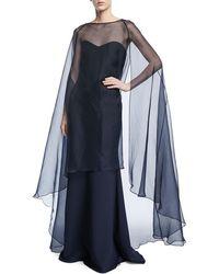 Badgley Mischka   Strapless Gown W/ Organza Overlay Cape   Lyst