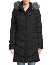 Bogner - Kiara Long Chevron Down Puffer Coat W/ Hood & Faux-fur Trim - Lyst