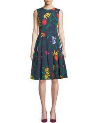 Carolina Herrera - Sleeveless Floral-print Fit-and-flare Cocktail Dress - Lyst
