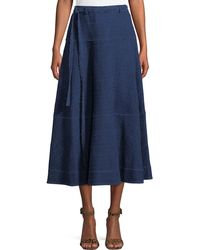Elizabeth and James - Leila Seamed Cotton Midi Skirt - Lyst