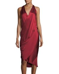 Urban Zen - V-neck Sleeveless Draped Silk Charmeuse Dress - Lyst