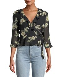 Bardot - Catalina Floral-print Ruffle Wrap Top - Lyst