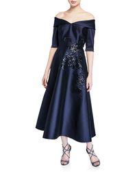 ad38eae10090 Teri Jon - Off-the-shoulder Elbow-sleeve Mikado Dress W  Sequin