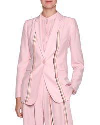 Emporio Armani - Single-breasted Sport-stripe Silk Blazer - Lyst