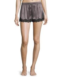 Neiman Marcus - Silk Short With Lace - Lyst