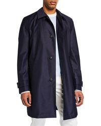 BOSS - Travel Line Coat In Virgin Wool With Perforated Lining - Lyst