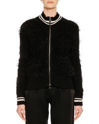 Ermanno Scervino - Zip-front Wool-alpaca Jacket With Striped Athletic Collar - Lyst