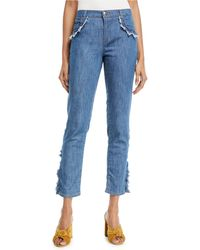 Boutique Moschino - Frayed-trim Crop Jeans - Lyst