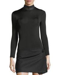 Helmut Lang - Bondage Leather Neck Long-sleeve Stretch Top - Lyst