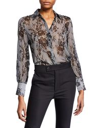 Club Monaco - Margee Silk Button-front Top - Lyst