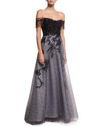 Rene Ruiz - Off-the-shoulder Organza Embellished Gown - Lyst
