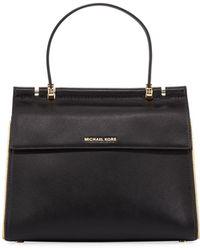 MICHAEL Michael Kors - Jasmine Medium Leather Satchel Bag - Golden Hardware - Lyst