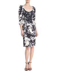 Naeem Khan - 3/4-sleeves Scoop-neck Matelasse Printed Dress - Lyst