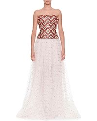 Ermanno Scervino - Strapless Woven Top With Tulle Dotted Skirt Evening Gown - Lyst