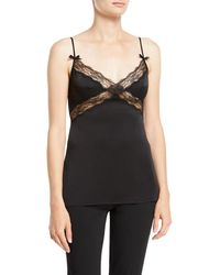 Michael Kors - V-neck Satin Charmeuse Camisole W/ Lace - Lyst
