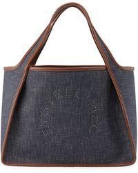 Lyst - Prada Printed Logo Denim Tote Bag in Natural 0d19a2870c