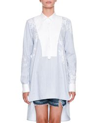 Ermanno Scervino - Long-sleeve Button-front Striped Tunic Shirt With Lace-yoke - Lyst