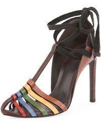 Saint Laurent - Huarache Ankle-tie Sandal - Lyst