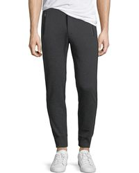 Michael Kors - Leather-trim French Terry Jogger Pants - Lyst