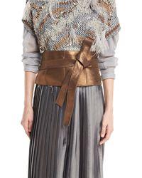 Brunello Cucinelli - Metallic Leather Corset Belt - Lyst